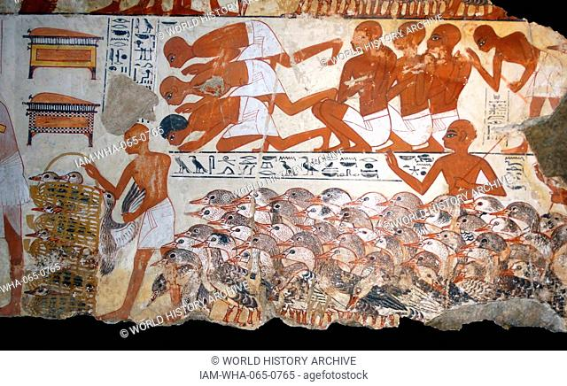 Fresco from the tomb of Nebamun, Fragment of a polychrome tomb-painting showing mass of geese with their farmers from the presentation of the geese scene