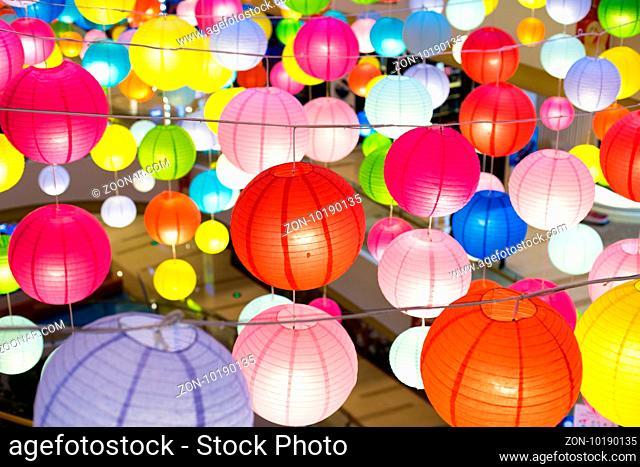 eletrical lantern in modern shopping mall