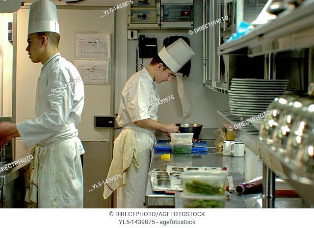 Paris, France, Haute-Cuisine French Restaurant in Eiffel Tower, Jules Verne Chefs Preparing Meals in Kitchen