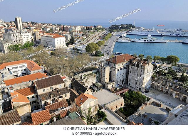 Looking south to the sea from the campanile of the Cathedral of St. Duje, Split, Croatia, Europe