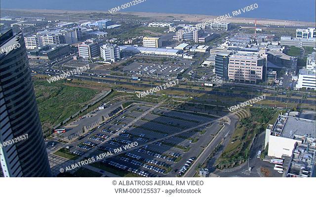 Aerial footage of Matam business and hi-tech park Haifa; Israel