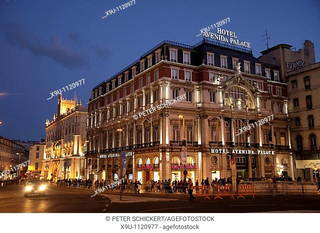 Hotel Avenida Palace in Lisbon at night, Portugal, Europe
