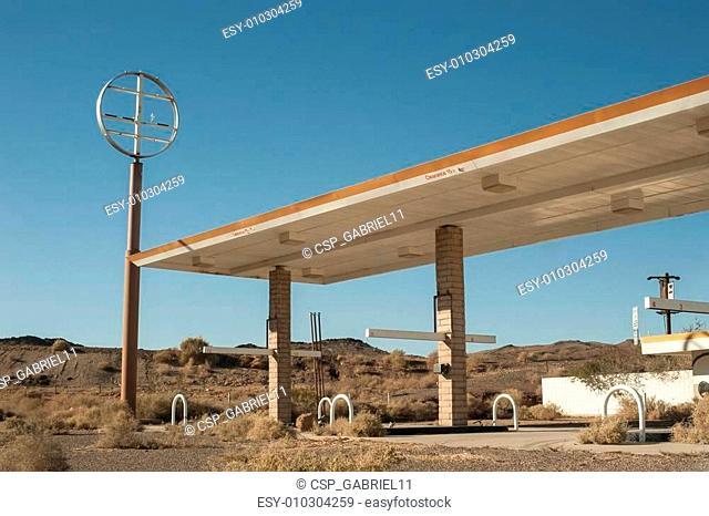 abandoned desert gas station
