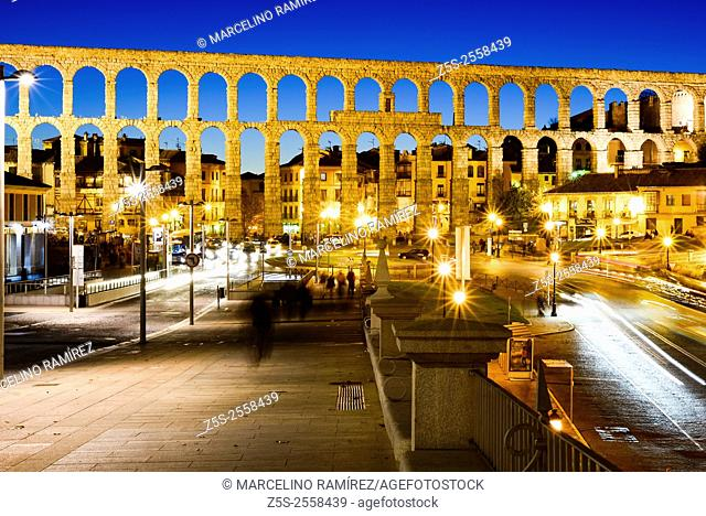Ancient Roman aqueduct, Azoguejo square, Segovia. Spain
