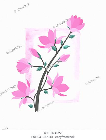 Vector illustration pink flowers with watercolor frame. Spring magnolia flowers branch