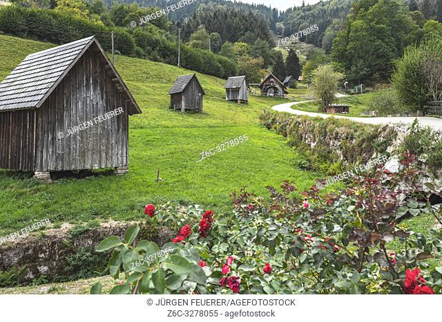 hay huts of the village Bermersbach, community Forbach, Murg valley in the Northern Black Forest, Germany, cultural landscape and heritage