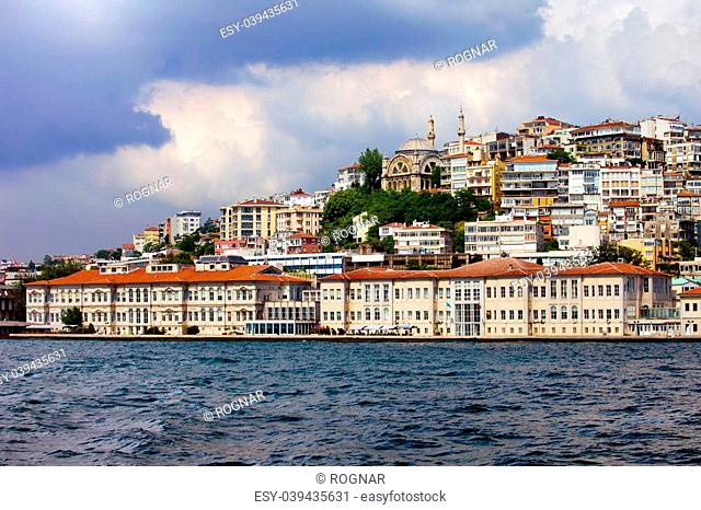 Mimar Sinan University of Fine Arts in Beyoglu district of Istanbul, Turkey, view from the Bosphorus Strait