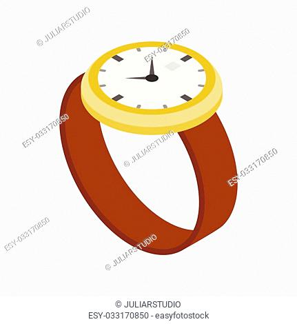 Wrist watch icon in isometric 3d style on a white background