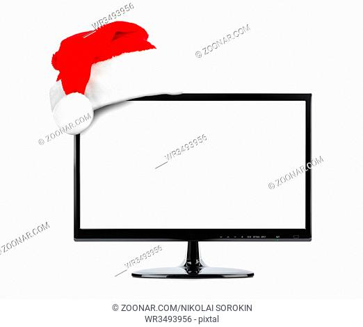 TV and Santa Claus red christmas hat isolated on white background