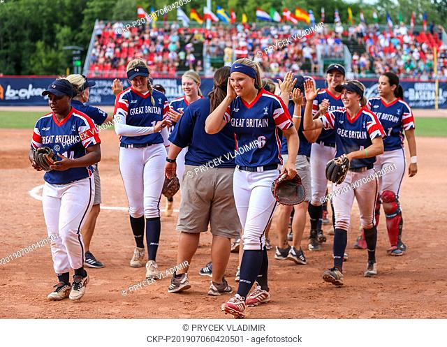 Players L-R front NERISSA MYERS, ALICJA WOLNY, SYDNEY BROWN of Great Britain National women's softball team celebrate bronze medal after the Women's European...