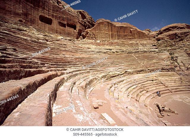 Theatre and 'cavea' at Petra. Jordan