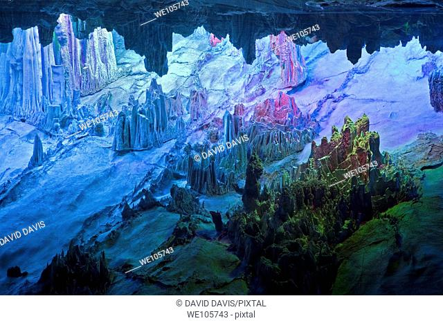 The beautifully illuminated Reed Flute Caves displaying the 'Crystal Palace of the Dragon King' formations  Located in Guilin, Guangxi Provine, China