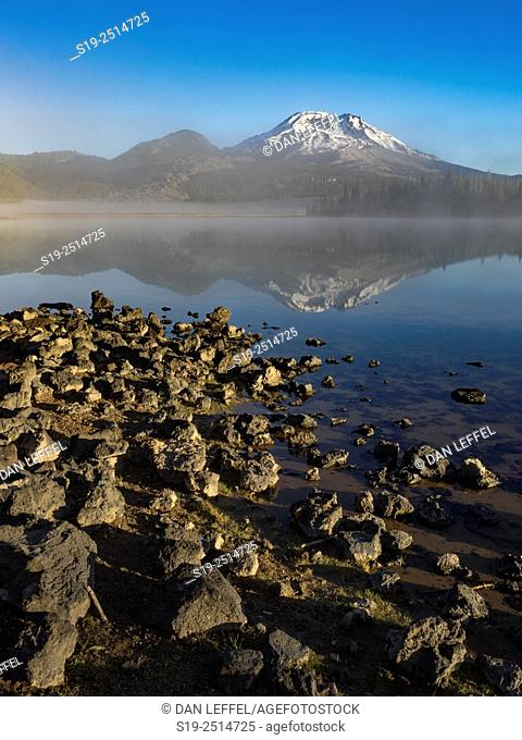Foggy sunrise at Sparks Lake with South Sister in Cascade Mountains
