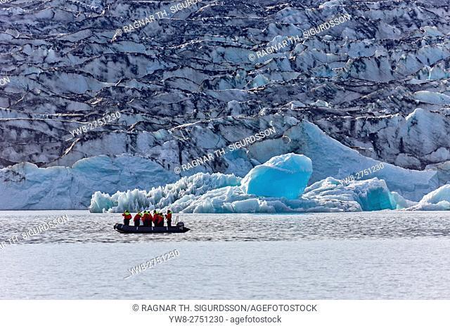 Boat tour on the Jokulsarlon Glacial Lagoon, Breidamerkurjokull Glacier, Vatnajokull Ice Cap, Iceland