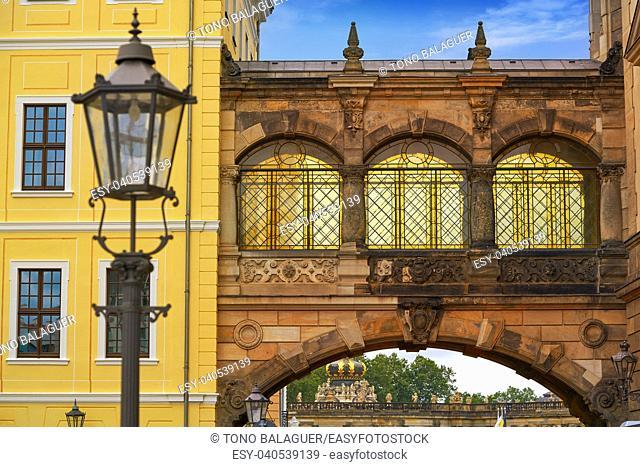 Dresden arch at Taschenberg street in Germany Saxony