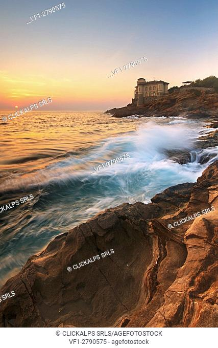 Italy, Tuscany, Livorno - Sunset at Boccale Castle