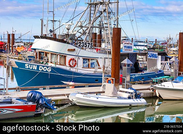 Fishing vessel Sun Dog tied up at the Steveston fish market in British Columbia Canada