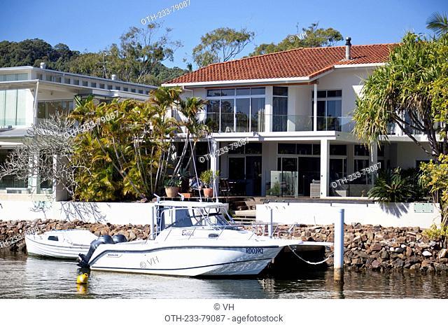 Resorts on the riverside of Noosa Sound, Noosa, Queesland, Australia