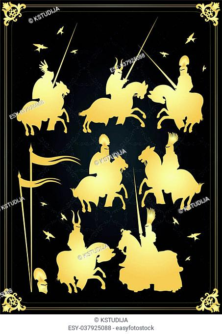Knights vector background set