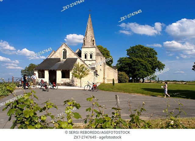 A small church in the bike ride from Fontevraud to Saumur, Loire Valley, France. Twenty kilometers of bicycle from Fontevraud and arrived at the gates of Saumur