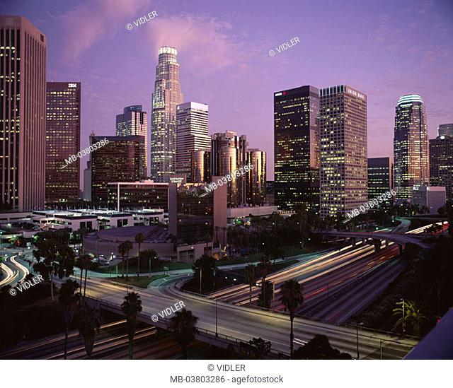 USA, California, Los Angeles, Downtown,  view at the city, skyline, evening  North America, unified states city city metropolis streets, light tracks, traffic