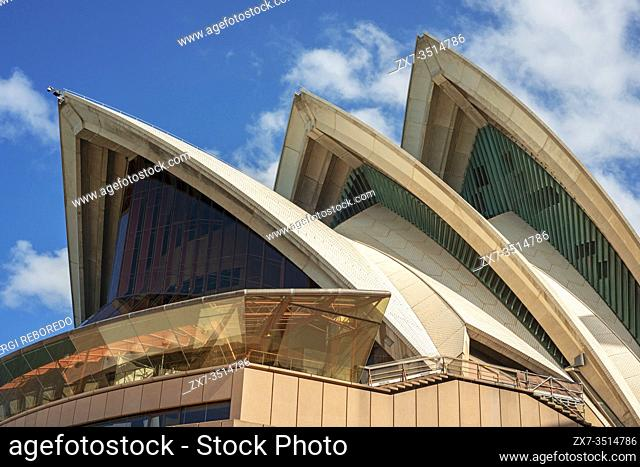 Outside facade exterior of Sydney Opera House, Sydney, New South Wales, Australia