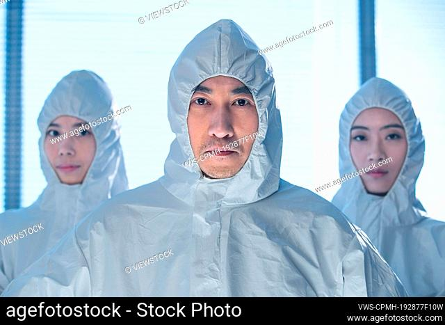The medical team to wear protective clothing