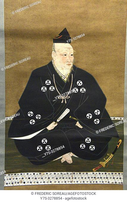 Portrait of Mori Motonari, color on paper,Showa era,20 th century, original from Azuchi-Momoyama period,16 th century,Tokyo National Museum,Tokyo,Honshu,Japan