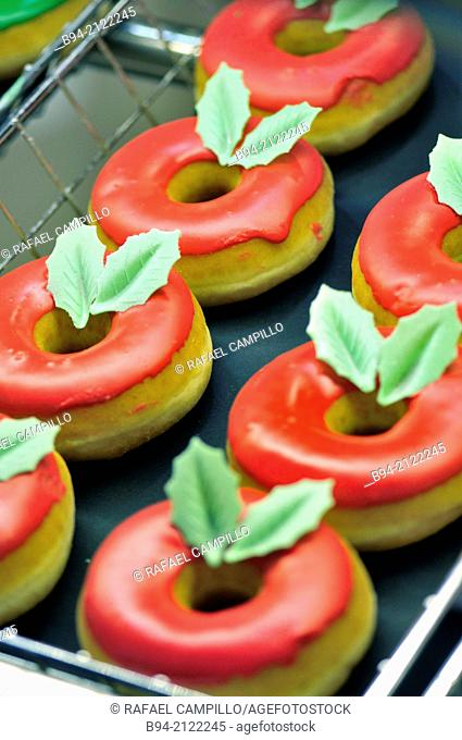 Donuts in Christmas time. Barcelona. Catalonia. Spain