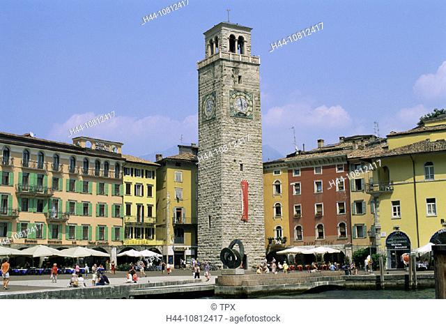 Aponale Tower, Clock Tower, Holiday, Italian Lakes, Italy, Europe, Lago Di Garda, Lake Garda, Outdoor Cafes, Restaur