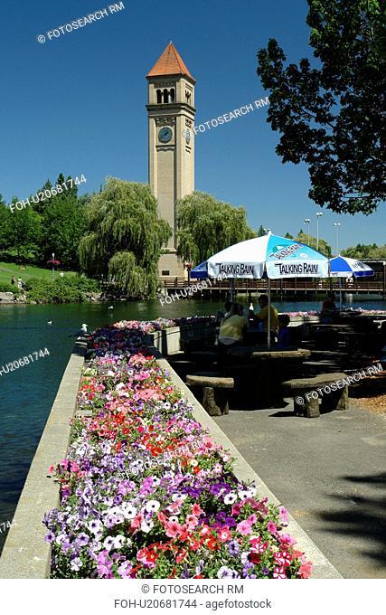 Spokane, WA, Washington, Spokane River, Clock Tower, Riverfront Park