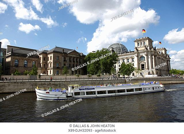 Germany, Berlin, Reichstag, German Parliament Building, Spree River, Tour Boat, River Cruise