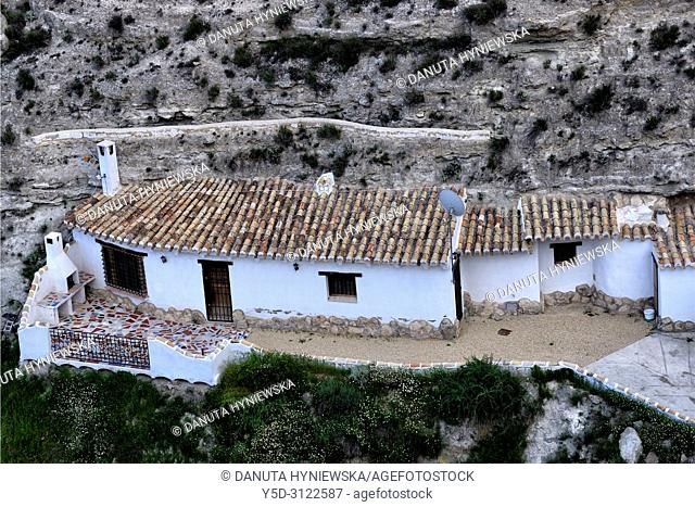 Cavehouses in the city of Galera near Baza, unspoilt cave country in mountainous region of northern Andalusia, between the Sierra Nevada and the Sierra de...