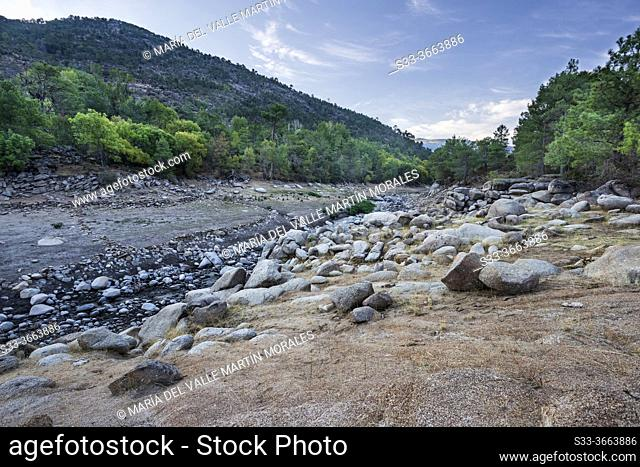 Drought in the Iruelas gorge at summer time. Avila. Spain. Europe