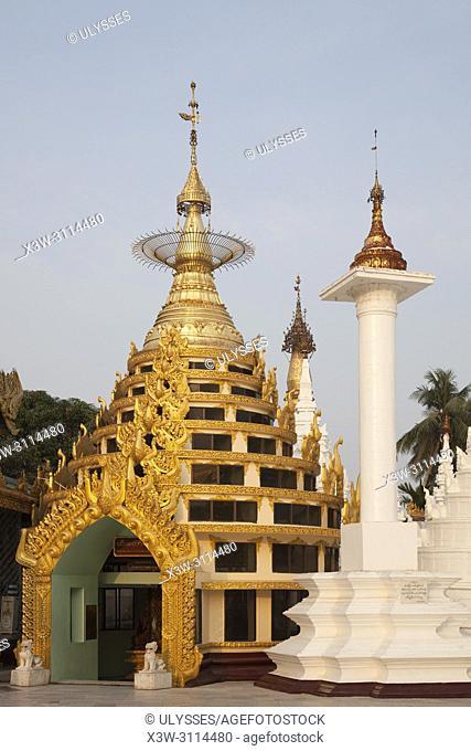 The Htidaw pagoda inside the Shwedagon pagoda, Yangon, Myanmar, Asia