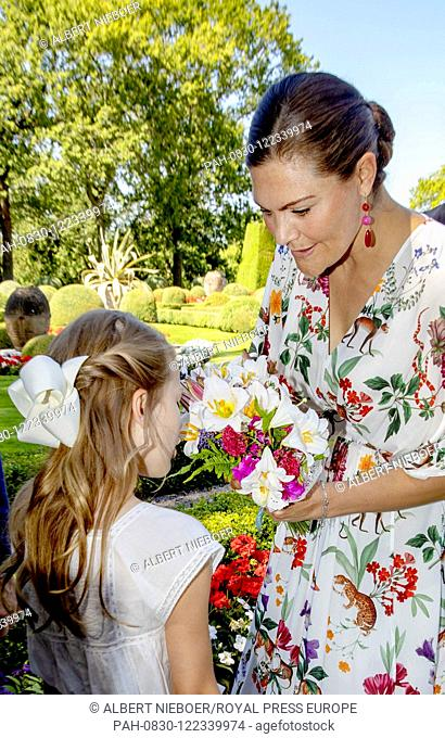Crown Princess Victoria and Princess Estelle of Sweden at Solliden Palace in Borgholm, on July 14, 2019, to attend the celebrations of Crown Princess Victoria...