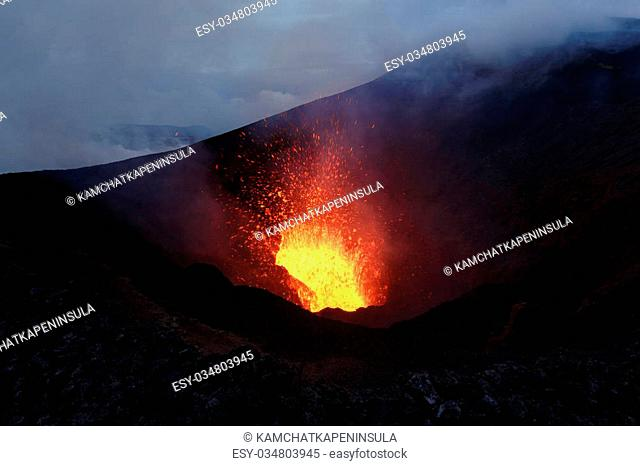 Beautiful mountain landscape: eruption Tolbachik Volcano - fountain lava from crater. Russia, Far East, Kamchatka Peninsula