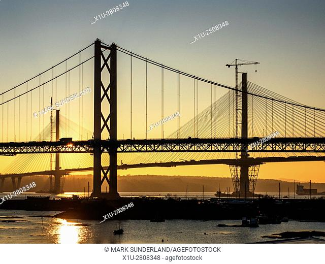 Forth Road Bridge at Sunset with the Queensferry Crossing Behind North Queensferry Fife Scotland