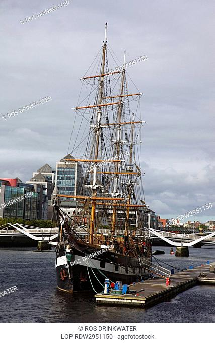 Republic of Ireland, Dublin City, Dublin. Jeanie Johnston Famine Ship Museum, a replica of the 1848 ship used on 16 voyages to transport emigrants during the...
