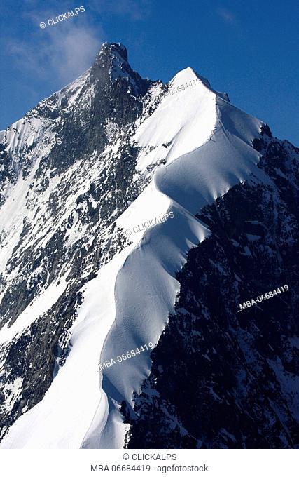 The beautiful Biancograt ridge seen from Piz Morteratsch, Engadin, Grisons, Switzerland