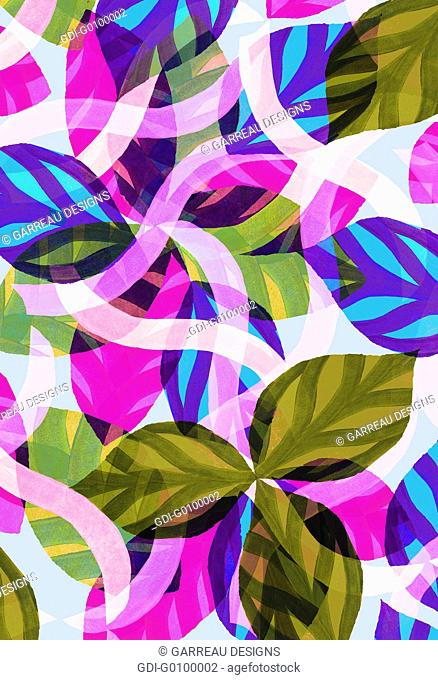Layers of colorful tropical leaves