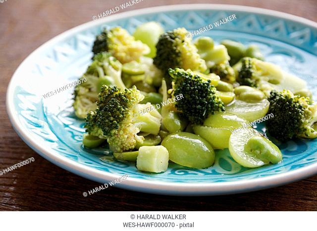 Broccoli, Fava Bean and Grape Salad