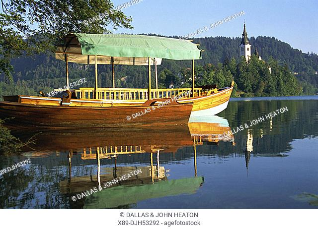 Slovenia, Bled, Bled Island Blejski Otok, Lake Bled, Church of the Assumption