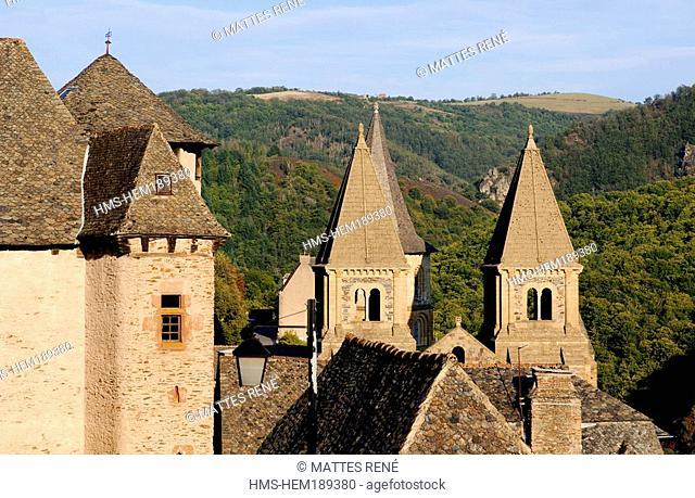 France, Aveyron, Conques, Sainte Foy abbey church 11th and 12th centuries, stop on el Camino de Santiago,labelled Les Plus Beaux Villages de France The Most...