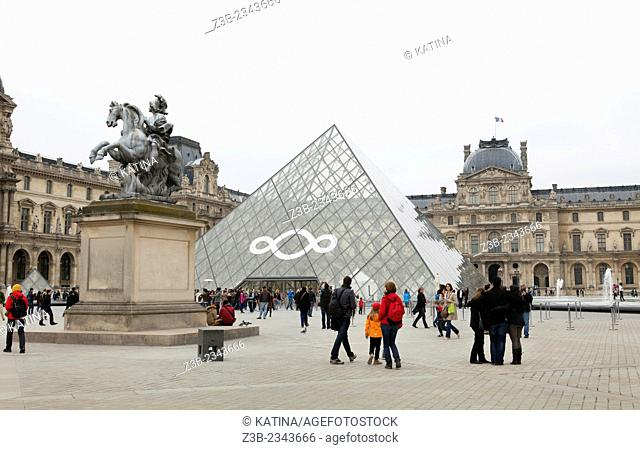 The Pyramid entrance, designed by I.M Pei, of the Louvre Museum in Paris, France, Europe