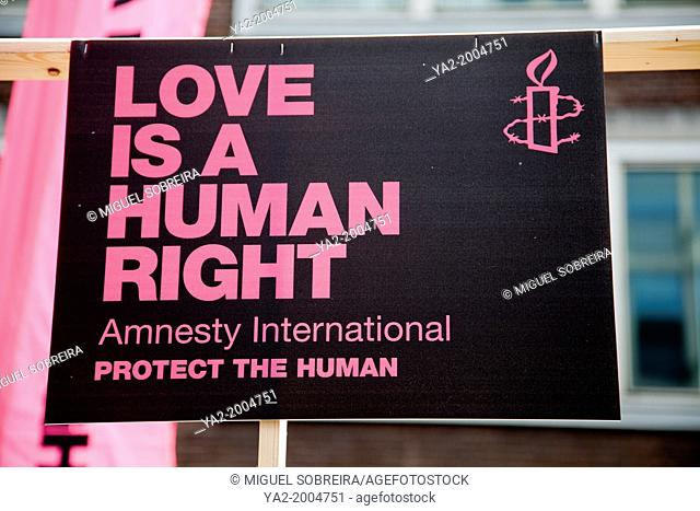 Love is a Human Right - Amnesty International Banner at Gay Pride, London UK - 2013