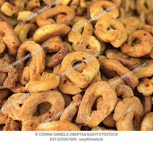 Spiced, chili flavored taralli, typical savoury bagels of the southern Italian cuisine