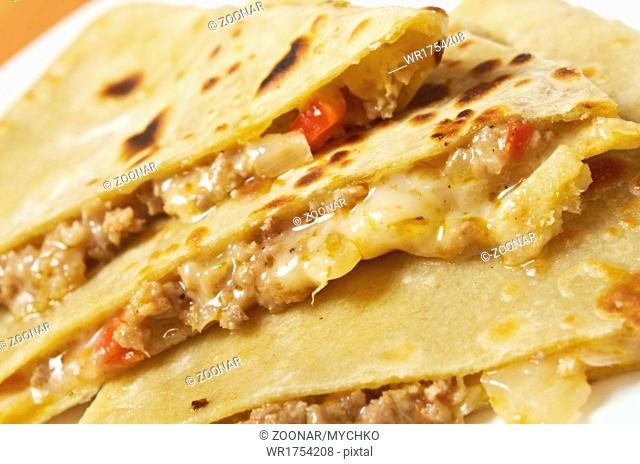 Quesadilla with chicken meat