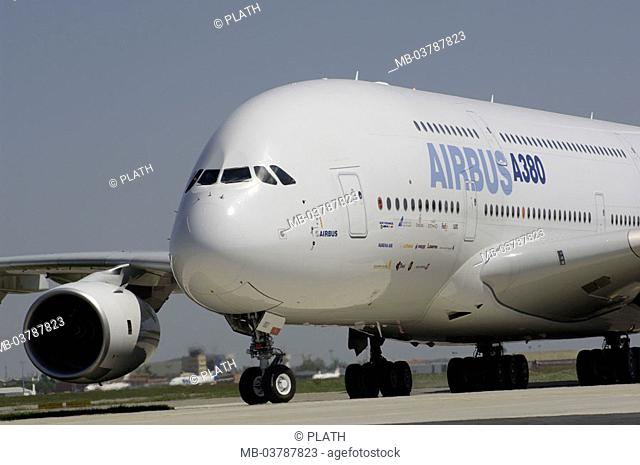 France, Toulouse, airport,  Airbus A380, detail, no property release,   'Airbus A3XX', world-biggest passenger airplane, spinster flight, test flight