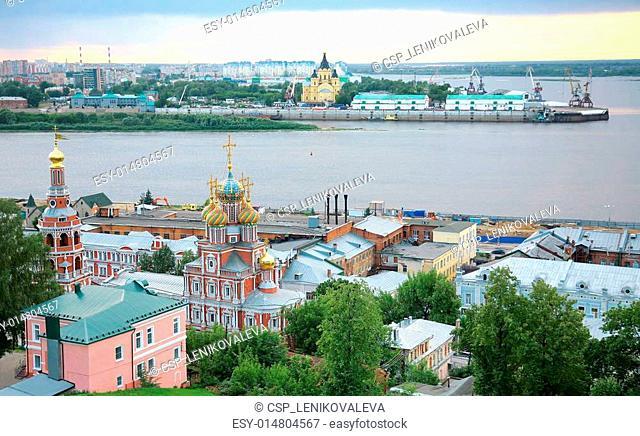 Summer july sunset in Nizhny Novgorod Russia